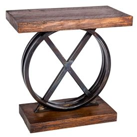 Pictured here is the XO Side Table with Wrought iron base and Reclaimed Wood Table Top & Base