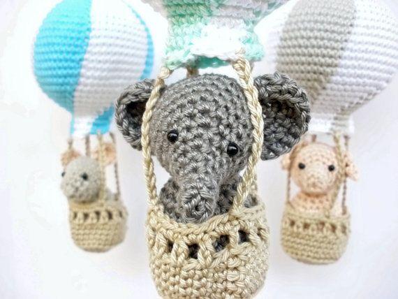 Fabulous Grau Aqua T rkis Kinderzimmer mobile mobile Elefantenbaby