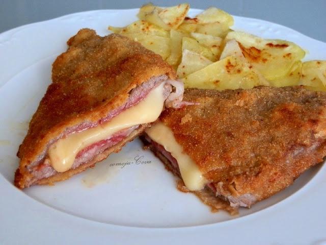 Cachopo de Ternera. Poner palillos para que no se separen los trozos. Quesos que se funden: queso manchego, gouda (para sándwiches), gruyere.