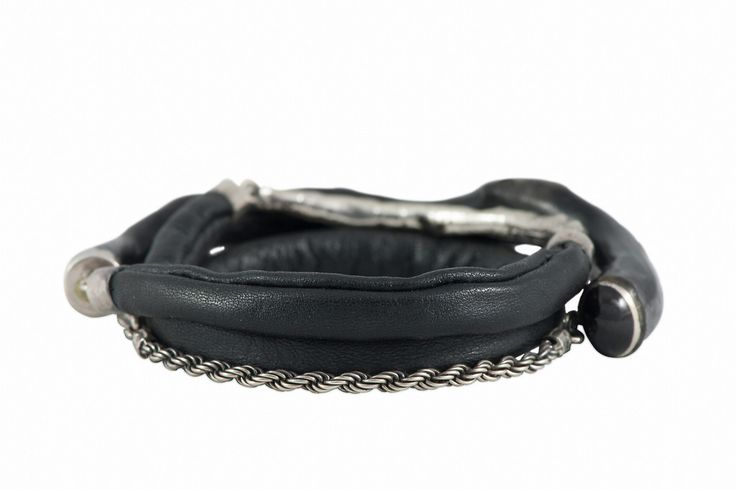 Uli Bracelet with Leather, Sterling Silver Chain & Gems