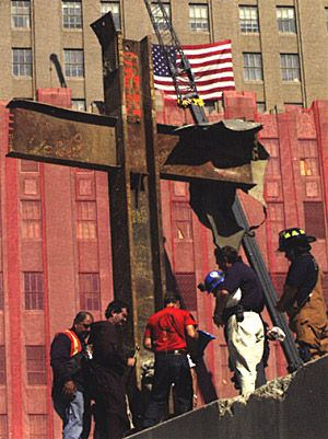9/11. This cross is so amazing to see. It has been moved several times while building the new site. It will be re-positioned back at the site when finished. AMAZING!
