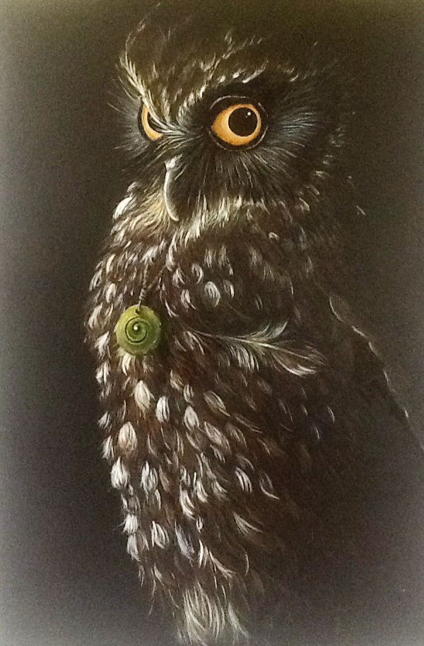 Sister Moon' NZ Morepork with Pounamu necklace by Nikki McIvor
