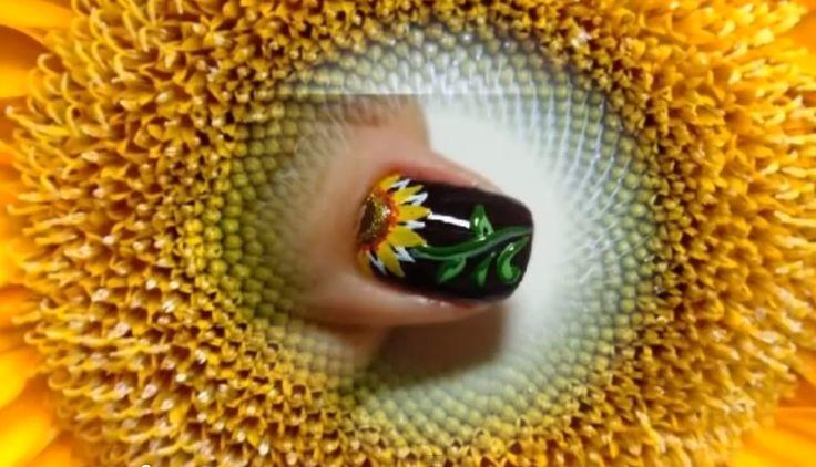 uñas decoradas con girasoles