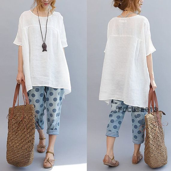 Waisted baggy linen long shirt doll version - white - Fashion Chic