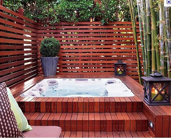 hot tub surround design - horizontal