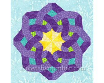 Hexagonia quilt block pattern paper pieced by PieceByNumberQuilts