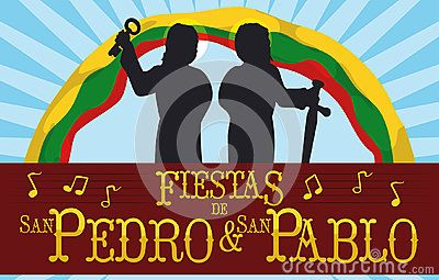 Banner with Saints Peter and Paul silhouettes celebrating their Colombian Feast Days written in Spanish with Ibague`s flag in the background and musical notes.