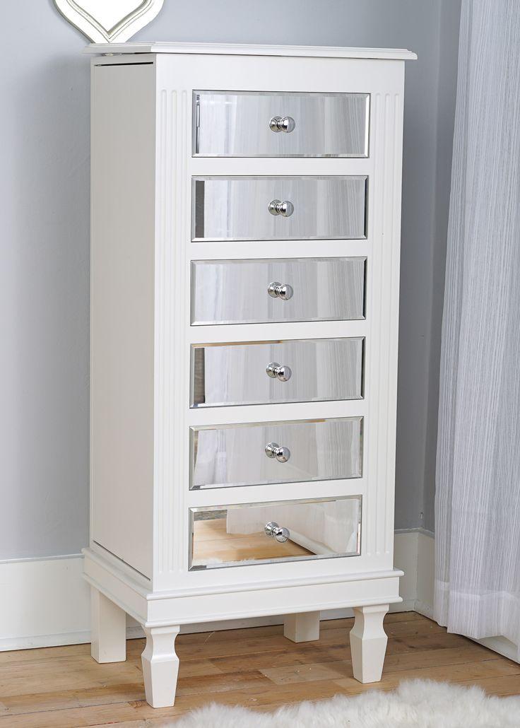 Ava Jewelry Armoire ~ Mirrored White