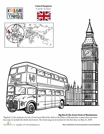 Worksheets: London Coloring Page from the Color Around the World Collection- many more coloring sheets available for other countries