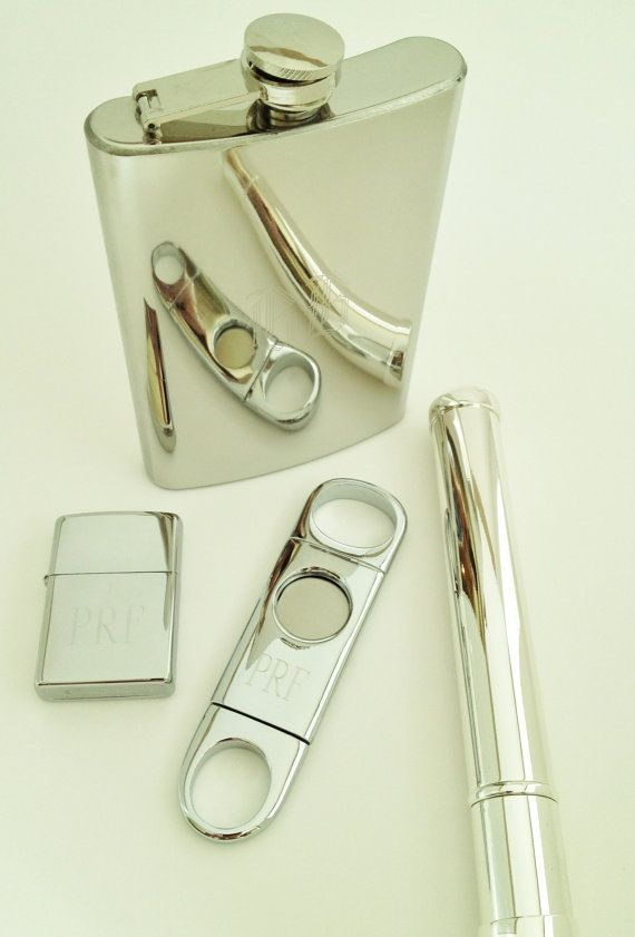 Gift Set for Men Engraved Silver Cigar Cutter Tube by netexchange