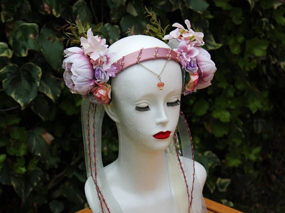 Soft Pink Blossom Bridal Flower Fairy Headdress - Spring Flower Crown - Romantic Flower Fairy Cosplay