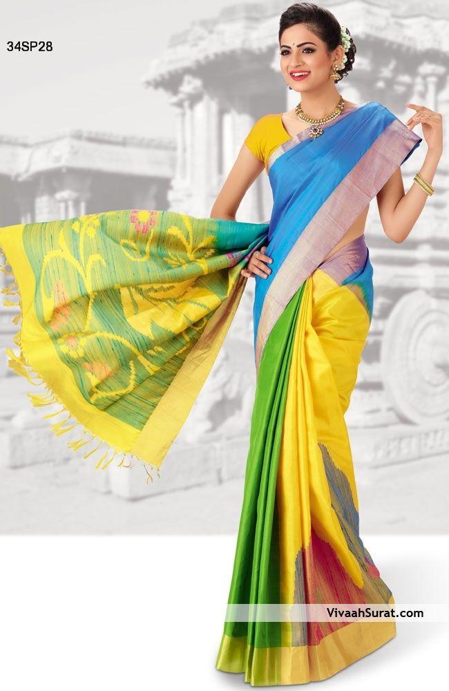 Beneficial Triple Colour Patli Style Kanchipuram Silk Saree