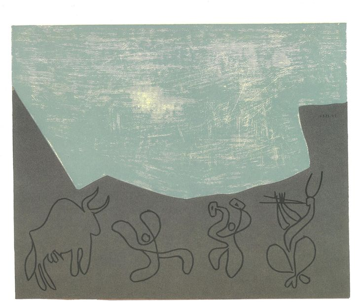 """Pablo Picasso: Bacchanal with Bull November 30, 1959. 1 Block (divided): yellow, blue-grey, black, sepia. In """"Picasso Linoleum Cuts: Bacchanals, Women, Bulls & Bullfighters"""" (1988), Harry N.Abrams, NC., New York."""