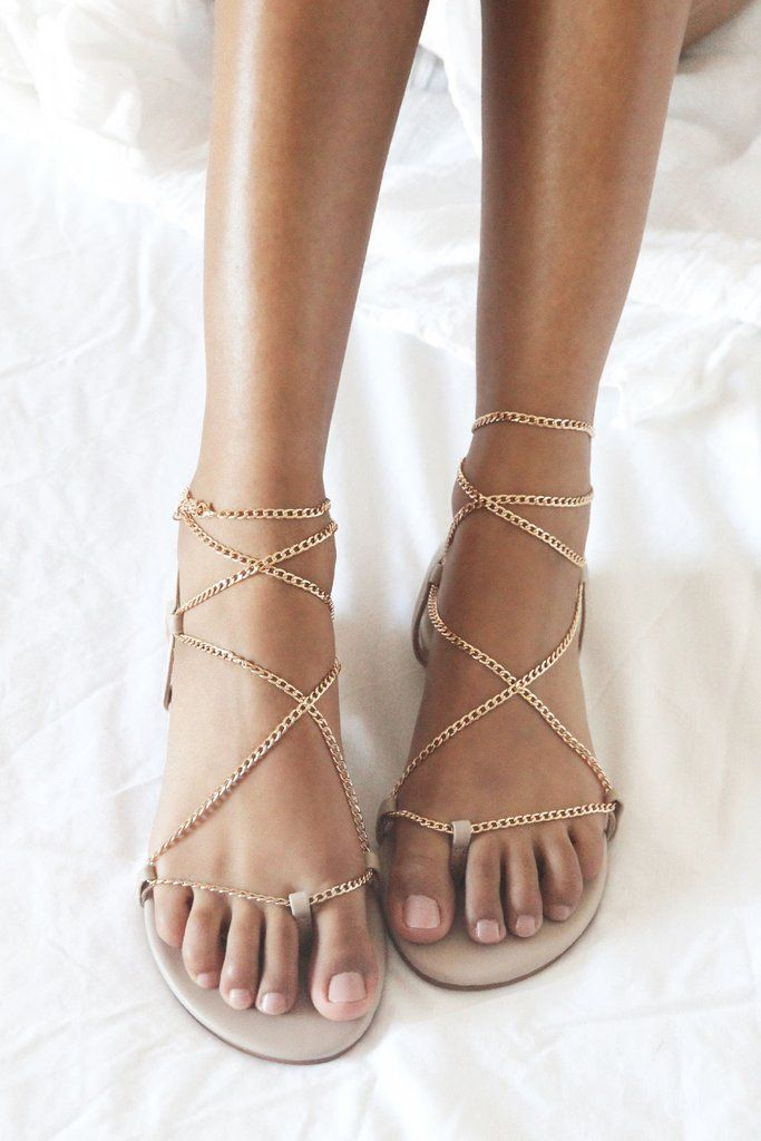 Gold Chain Flat Sandals Bridal Shoes Flats Strappy Wedding Shoes Wedding Flats