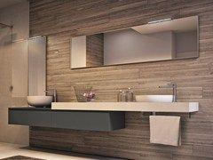 Mueble bajo lavabo suspendido con espejo CUBIK | Mueble bajo lavabo con espejo - IdeaGroup