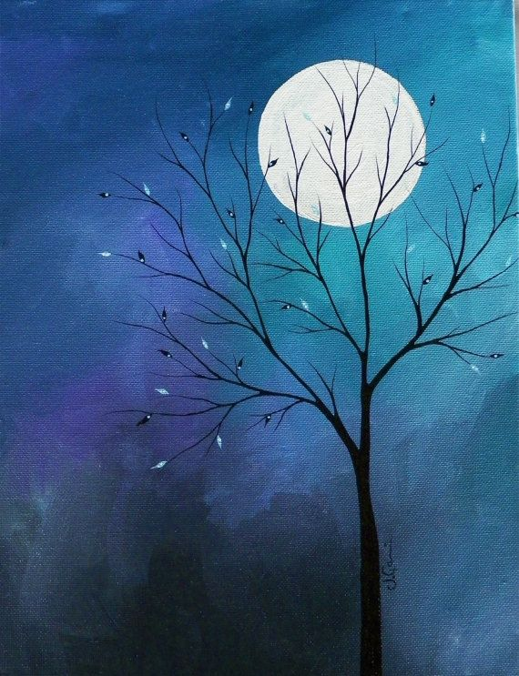 beautiful Simple Acrylic Canvas Painting Ideas Part - 4: ORIGINAL Midnight acrylic on canvas painting by xXSnapDragon, $175.00   Canvas  painting   Pinterest   Painting, Canvas and Art
