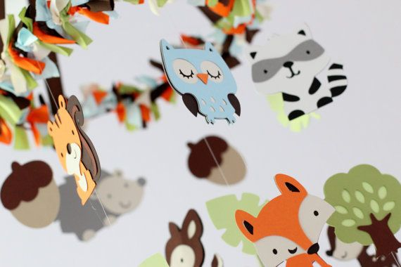 I want to make one of these!  Forest Friends Nursery Mobile - LARGE SIZE on Etsy, $75.00