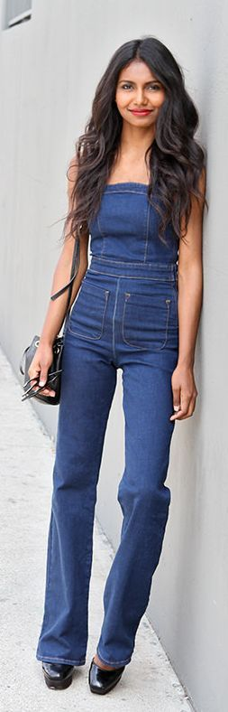 Denim  Flare Legs Jumpsuit by Tuolomee