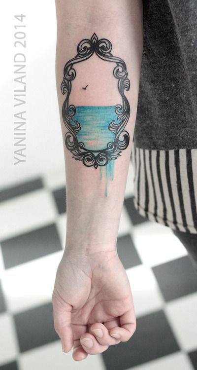 Yanina Viland inked this amazing frame with water leaking out of it. #InkedMagazine #water #frame #tattoo #tattoos #Inked #ink