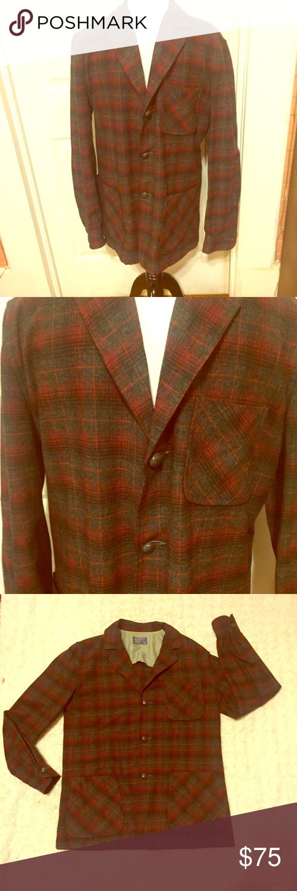 Men's Unique Vintage Pendleton Plaid Wool Coat Men's Unique Vintage Pendleton Plaid Wool Coat. Tag says Medium, looks more like a L/XL to me so go by measurements. Will add soon. In amazing vintage condition. No flaws found. Has one breast pocket and two additional pockets on each side. These will never go out of style! Scoop this up quick! Bundle and Save $ Pendleton Jackets & Coats