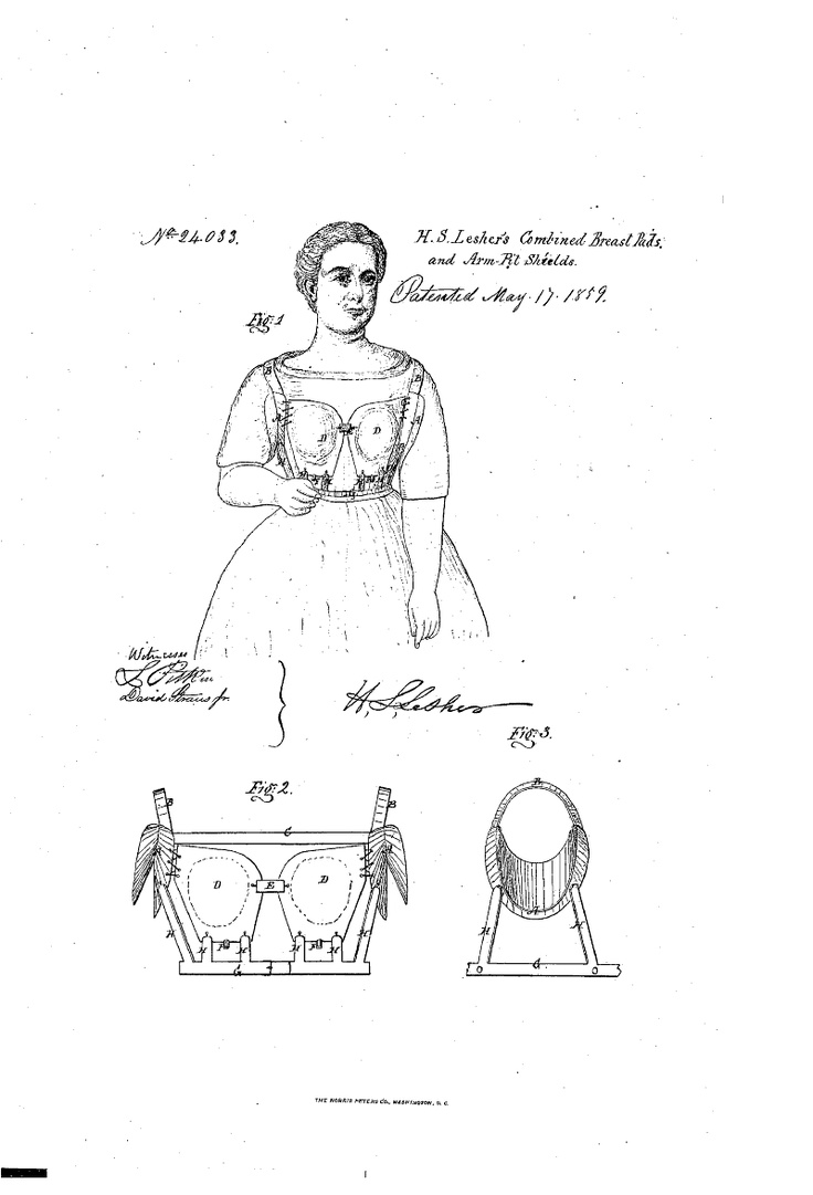 1859 Patent US24033 - BREAST-PAD AND PERSPIRATION-SHIELD - Google Patents Inflatable bust pads