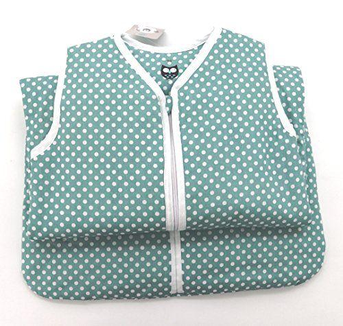 Baby Schlafsack aus 100% Baumwolle Punkte in mint 90 cm Babyschlafsack leicht gef�ttert atmungsaktiv Ganzjahres-Schlafsack Kleinkind Unisex t�rkis blau Typ373