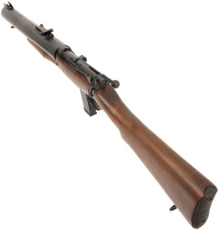 """De Lisle Carbine: One of the few actually """"silent"""" firearms, with its massive suppressor and subsonic .45 ACP ammunition this commando weapon was deadly at ranges from 100 to 200 yards."""