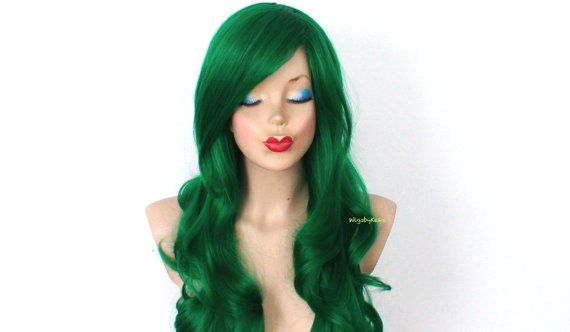 Green wig. Irish green wig.Long curly hairstyle wig. by kekeshop