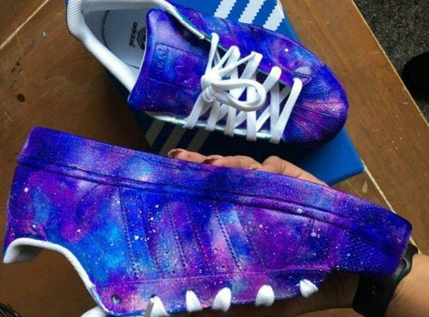 classic style hot product latest design shoes sneakers adidas galaxy print universe blue custom ...