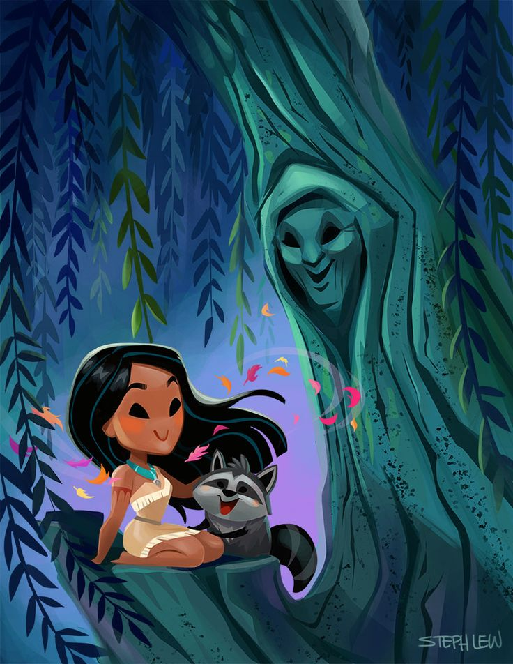 Cuties - Pocahontas with Grandmother Willow and Meeko by StephLewArt