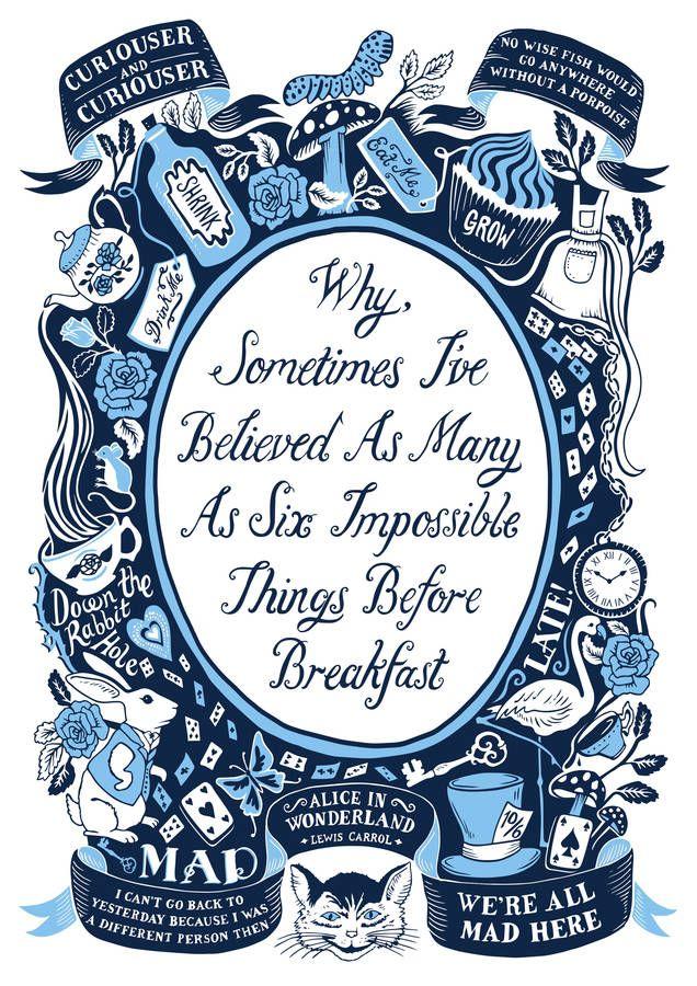 Alice In Wonderland, Famous Quotes Print Alice