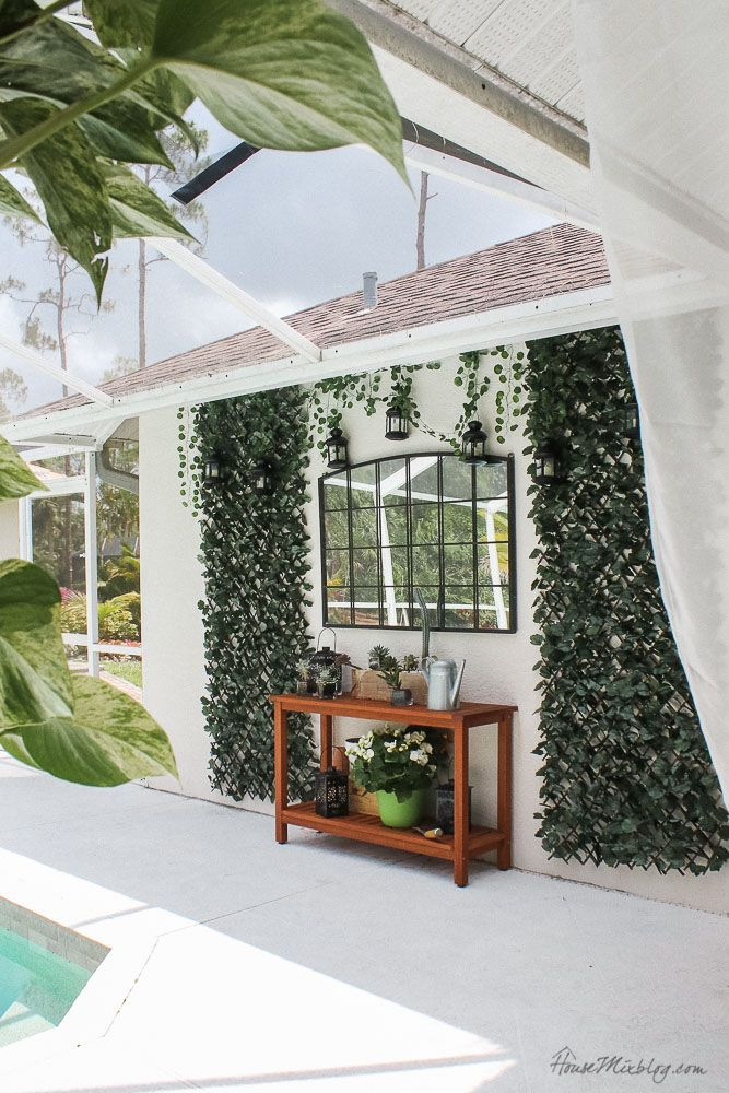 Blank Patio Turned Plant Filled Retreat Ivy Wall Patio Wall Outdoor Console Table