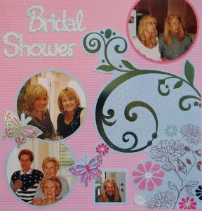 Bridal Shower scrapbook page with the Bridal Shower title from Cricut's Sweethearts