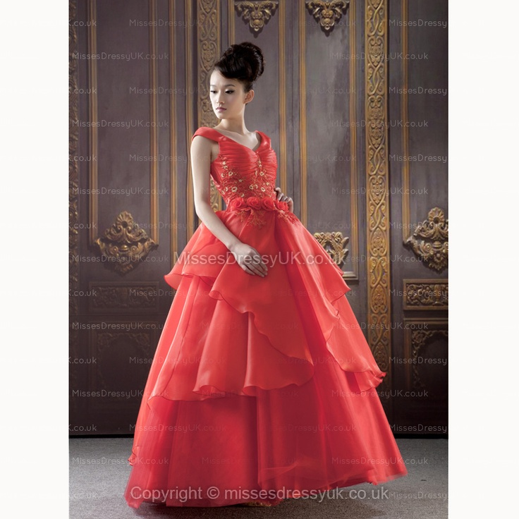 BallGown V-neck Chiffon Floor-length Red Tiered Cocktail Dress