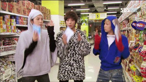 You're Beautiful (korean drama). Supermarket boy band dance. Ratchet clothes though =.= lol. So funny! #gif