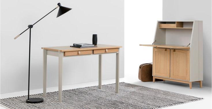 Shepperton Desk, Oak and Stone Grey   made.com