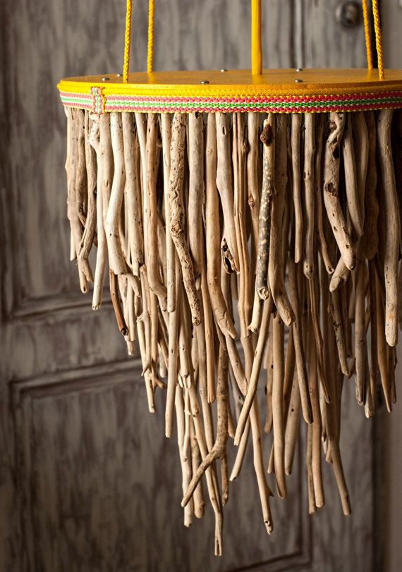 Driftwood Hanging Light Chandelier Three Tier Round by MarzaShop, $260.00