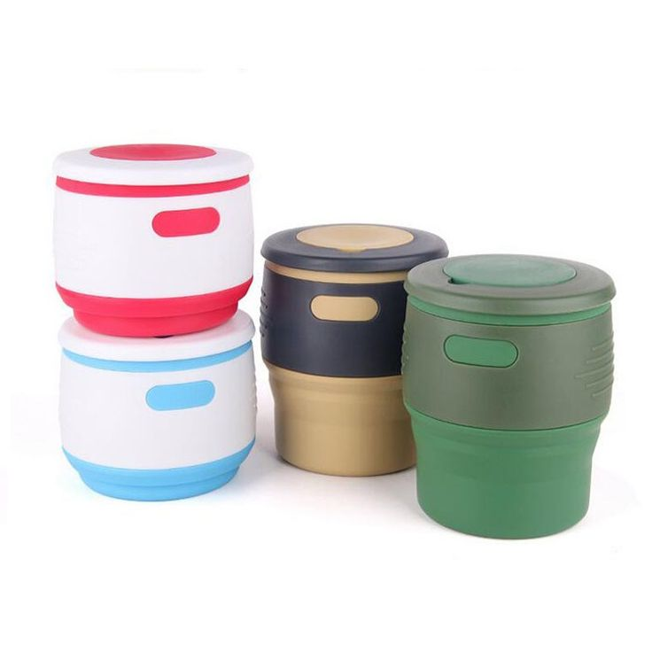 Collapsible Cups 350ml for Water Coffee Folding Cup Food Grade Silicone Portable Travel Mug Drink Cup Flexible Outdoor ZA2290