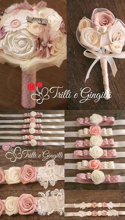 Set coordinato bouquet e accessori rosa