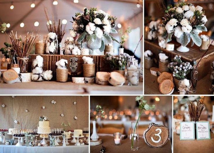 déco table mariage originale avec des boules de coton, branches et disques en bois