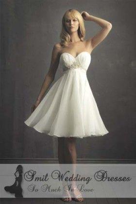 korte bruidsjurk witte chiffon a-lijn sweep / borstel TJ2012108