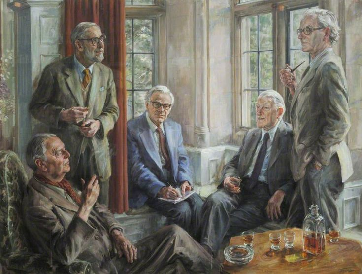 Arts and Sciences at Trinity: Group of Professor Alexander Ogston, Sir Ronald Syme (1903–1989), Kenneth, Lord Clark (1903–1983), Sir Hans Krebs (1900–1981), and Profesor Rodney Porter (1917–1985) ~ June Mendoza ~ (born 1945)