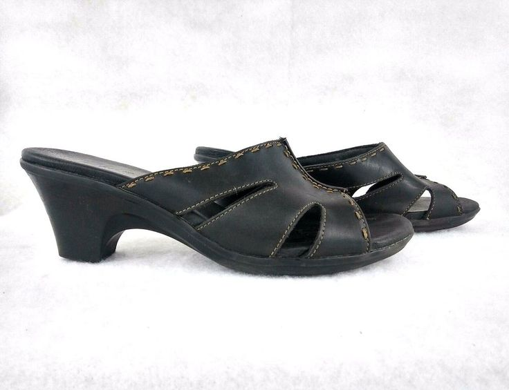 Clarks Sandals Heels Sz 8 Black Marshmallow Leather Slides in Box EURO 39 UK 6 #Clarks #Mules #AllOccasions