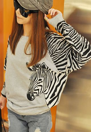 Fashion Zebra Stripes Round Neck Long Sleeve Loose Sweatshirt T-shirt