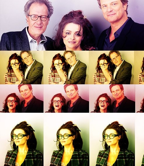 Helena, Colin Firth, and Geoffrey Rush.