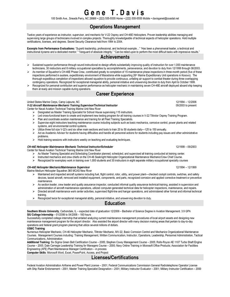 Aircraft Mechanic Resume Sample] Maintenance Technician Resume ...