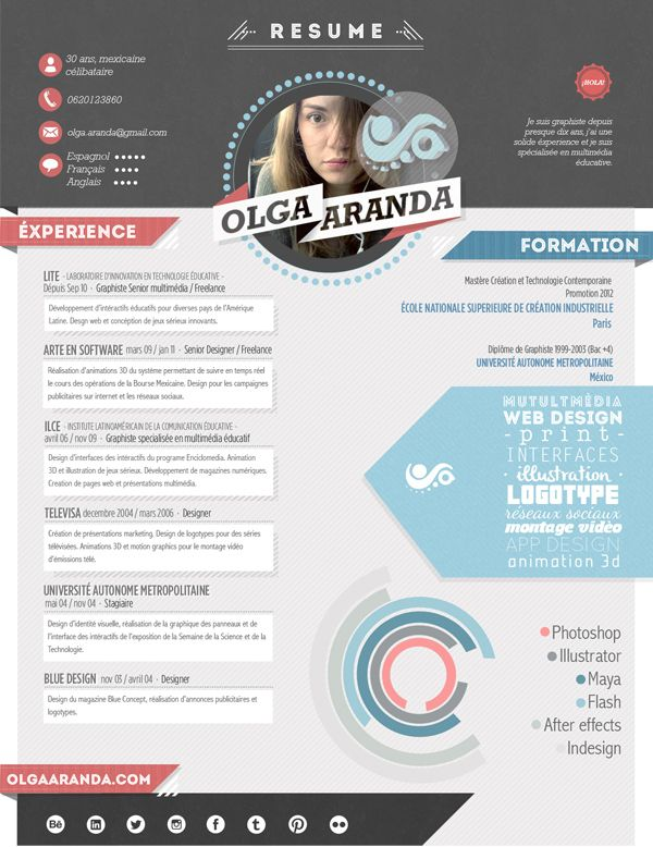 Mon Résumé · My CV · Mi curriculum by Olga Aranda, via Behance