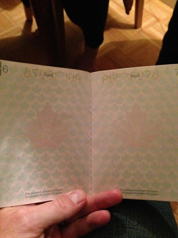 They posted their discoveries to Imgur: Here's what the old passports look like under normal light. | If You Didn't Know, The Canadian Passport Under Black Light Is A