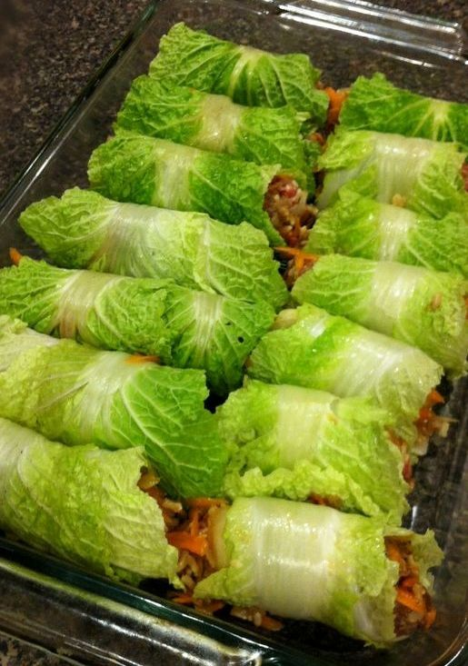 """These Asian style cabbage rolls by aggieskitchen: A great twist on stuffed cabbage, these are light and healthy, yet still a filling """"one-pot"""" meal perfect for busy weeknights. #Napa_Cabbage_Rolls"""