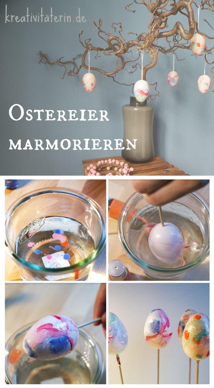 Für diese Variante der Eierfärbung benötigst du nur Wasser, Nagellack und jede Menge Ostereier. Super schnell zauberst du wahre Überraschungseier!